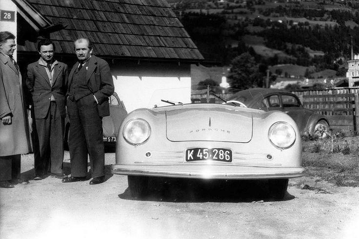 Erwin Komenda, Ferry Porsche si Ferdinand Porsche cu Porsche 356 -1 in 1948